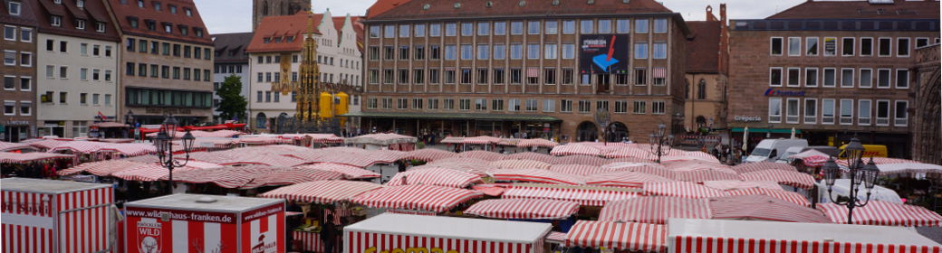 panorama of the farmers market at the Nuremberg main market square